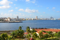 View from the fort Castillio el Morro on the capital Havana Royalty Free Stock Image