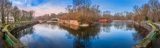 View of Fort 5 in Kaliningrad. Panoramic view of water around of Fort 5 in Kaliningrad stock photography
