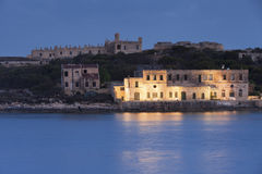 View of Fort Manoel from the sea. At sunset Stock Image