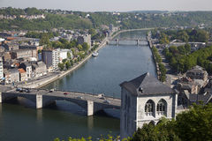 View from fort on Meuse river in Huy. City, Wallonia, Belgium Royalty Free Stock Photos