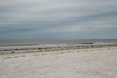 View of Fort Myers beach on Estero Island in Florida. View of Fort Myers beach on Estero Island in Florida on stormy morning royalty free stock images