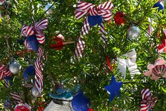 Patriotic christmas tree in fort Myers, Florida, usa. A view in FORT MYERS, UNITED STATES, NOVEMBER 25, 2017 : patriotic decorated christmas tree , november 25 Stock Images