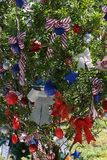 Patriotic christmas tree in fort Myers, Florida, usa. A view in FORT MYERS, UNITED STATES, NOVEMBER 25, 2017 : patriotic decorated christmas tree , november 25 Stock Photo