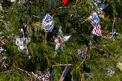 Patriotic christmas tree in fort Myers, Florida, usa. A view in FORT MYERS, UNITED STATES, NOVEMBER 25, 2017 : patriotic decorated christmas tree , november 25 Royalty Free Stock Photos