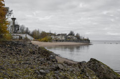 View on  fort `Reef`, fortifications of Kronstadt, and gulf of Finland. Stock Photo