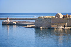 The view of Fort Ricasoli and Ricasoli Breakwater bridge with th Royalty Free Stock Photography
