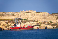 The view of Fort Ricasoli from Valletta. Malta Stock Images
