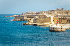 View of Fort Rinella from St. Elmo, Valletta.  Royalty Free Stock Image