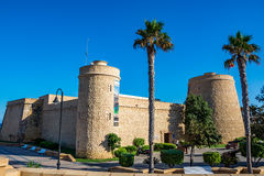View of the fort in Roquetas de Mar, Almeria region Royalty Free Stock Image