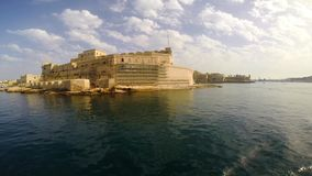 View on Fort Saint Angelo in Birgu stock video footage