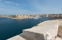 View from Fort Saint Angelo to Kalkara and Birgu. Malta Royalty Free Stock Images