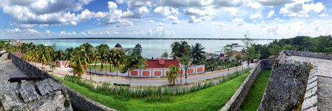 View from the fort of San Felipe to  Bacalar Lagoon Royalty Free Stock Photography