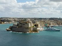 View of Fort Sant`Angelo in the city of Birgu, Malta stock photos