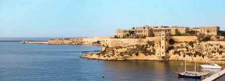 View from the Fort St. Michael. Malta Grand harbor 2013 Royalty Free Stock Images