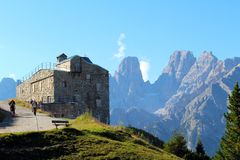 View of the Forte Prato Piazza in the Dolomites, Italy stock images