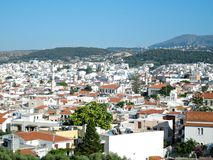View from Fortezza above of Greek city Rethymno, harbor and Aegean Sea in the summer stock images