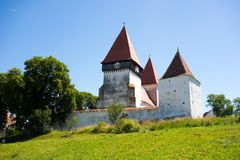 The fortified church from Merghindeal, Sibiu County, Romania. View of the fortified church from Merghindeal,  Sibiu County, in Transylvania, Romania Royalty Free Stock Image