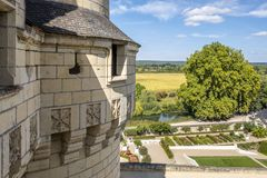 View from fortified wall of the medieval castle over beautiful countryside in France. Chateau d`Usse is fairytale style medieval chateau, located in Loire valley royalty free stock images
