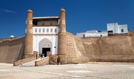View of fortres Ark - Ark entrance - City of Bukhara Stock Images