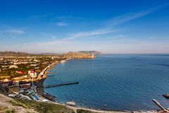 View from the fortress of the bay and the city with the mountains in the background, Sudak, Crimea Royalty Free Stock Photos