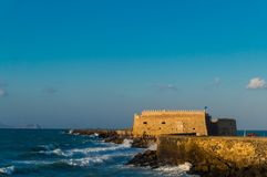View of the fortress Castello a Mare Koules in Herakleio of Crete in Greece. The Castello a Mare Koules is a fortress located at the entrance of the old port of Stock Photography