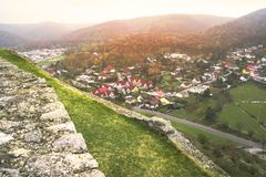View from the fortress on the city,View from above of the city of Hainburg . royalty free stock photos