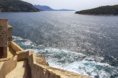 View from fortress Dubrovnik on the Mediterranean sea Stock Photography
