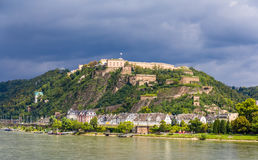 View of Fortress Ehrenbreitstein in Koblenz Royalty Free Stock Photos