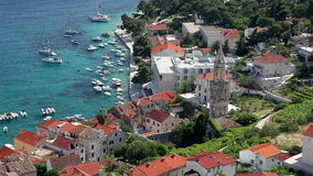 View from fortress on harbor of the city of Hvar.  stock video