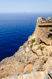 View from the fortress on the island Gramvousa on the sea Royalty Free Stock Photos