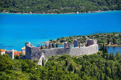 View of the fortress in Mali Ston town, Croatia Royalty Free Stock Photo