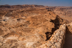 View from fortress Masada over  Judean Desert, lsrael Royalty Free Stock Images