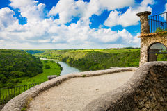 View from the fortress of a medieval town on the river. Royalty Free Stock Images