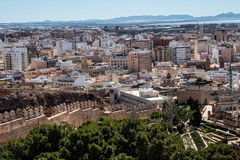 View from the fortress of Moorish houses and buildings along the port of Almeria, Andalusia, Spain Royalty Free Stock Images