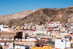 View from the fortress of Moorish houses and buildings along the port of Almeria, Spain Stock Photography