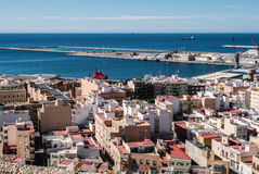 View from the fortress of Moorish houses and buildings along the port of Almeria, Spain Royalty Free Stock Image