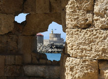 View on the fortress in Rhodes from the hole in wa Royalty Free Stock Images