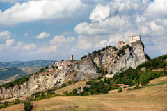 View of the Fortress of San Leo town. View of the Fortress of San Leo and town of the Marche regions. There is the death-place of Count Cagliostro Royalty Free Stock Images