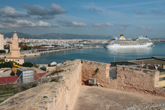 View from fortress on seaport. Palma-de-Majorca, Spain Stock Photos