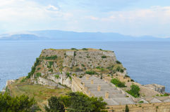 View at fortress and the see at Kerkyra town at Corfu island Gre Royalty Free Stock Photo