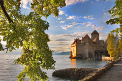 View on a fortress Shillon. A medieval fortress ?hillon on lake Leman on a sunset royalty free stock image