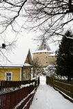 View of the fortress in Staraya Ladoga, Russia, from the side of the village street. stock photography