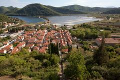 View from the fortress of Ston over the town, Peljesac, Croatia royalty free stock photos