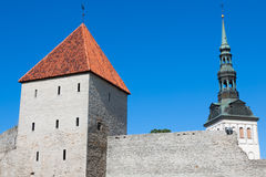 View of fortress towers and church on sky background. Tallinn. E Stock Photography