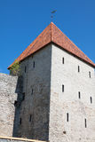 View of fortress towers and church on sky background. Tallinn. E Royalty Free Stock Photo