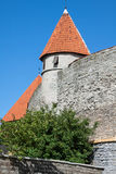 View of fortress towers and church on sky background. Tallinn. E Royalty Free Stock Photos