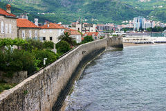 View of the fortress wall of Budva Stock Images