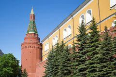 View of the fortress wall and the Corner Arsenal tower of the Moscow Kremlin on a Sunny spring day royalty free stock images