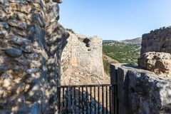 View from the fortress wall of the remains of a round tower in Nimrod Fortress located in Upper Galilee in northern Israel on the. Border with Lebanon royalty free stock photos