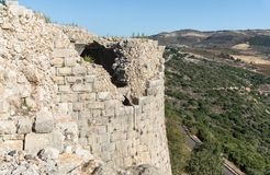 View from the fortress wall of the remains of a round tower in Nimrod Fortress located in Upper Galilee in northern Israel on the. Border with Lebanon stock images